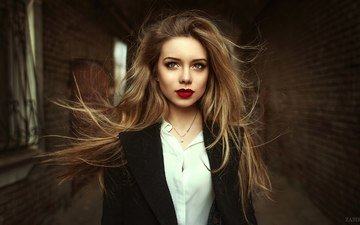 girl, portrait, look, lips, face, long hair, elvin zabirova