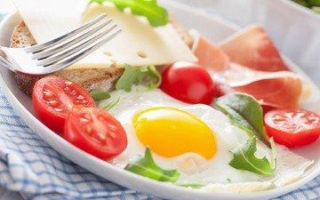 бутерброд, сыр, завтрак, помидоры, яичница