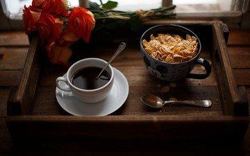 розы, кофе, чашка, завтрак, поднос, кукурузные хлопья