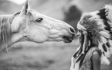 horse, girl, look, black and white, profile, hair, face, feathers, mane, headdress, horse . stallion