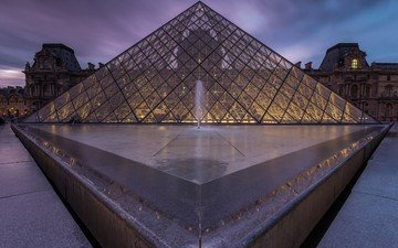 paris, pyramid, glass, france, the louvre, museum