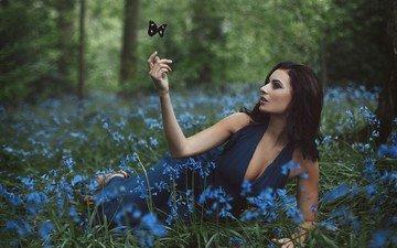 цветы, трава, природа, девушка, платье, поза, бабочка, луг, модель, сэмми брэдди
