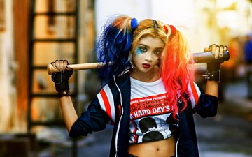 girl, look, hair, makeup, baseball bat, cosplay, harley quinn