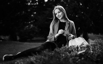 girl, smile, black and white, sitting, mary jane, ivan gorokhov