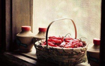 корзина, окно, овощи, перец
