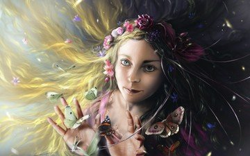 girl, look, fantasy, fairy, butterfly