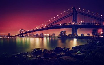 bridge, the city, new york, manhattan, suspension bridge