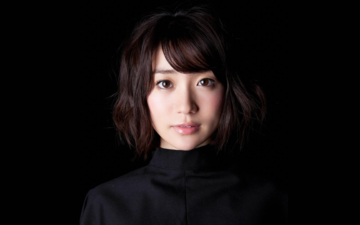 girl, look, hair, black background, face, asian, oshima yuko