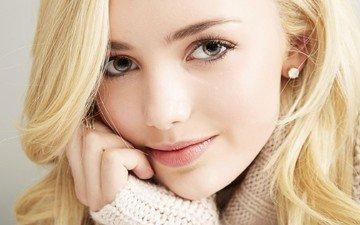 глаза, девушка, блондинка, портрет, модель, волосы, губы, лицо, свитер