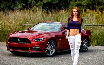 девушка, улыбка, взгляд, рыжая, волосы, лицо, живот, форд, ford mustang
