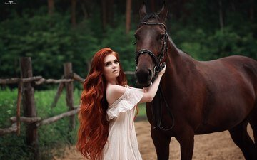 horse, girl, dress, look, face, long hair, redhead, bare shoulders, dmitry arhar