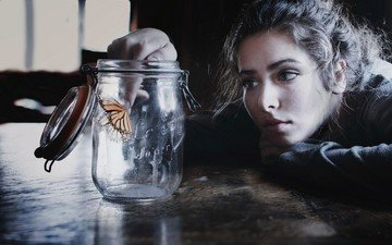 girl, mood, insect, portrait, brunette, butterfly, table, face, bank
