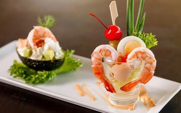 зелень, салат, морепродукты, креветки, закуски