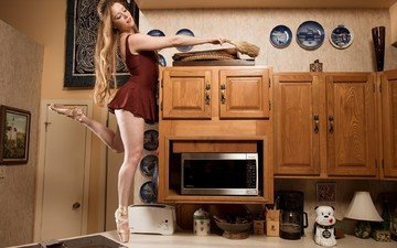 interior, dress, blonde, model, kitchen, plates, long hair, ballerina, bare shoulders