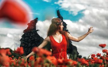небо, цветы, облака, девушка, маки, волосы, лицо
