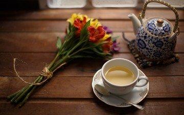 flowers, drink, bouquet, tea, kettle, still life, the still-life