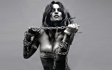 girl, look, black and white, model, hair, face, chain, photoshoot