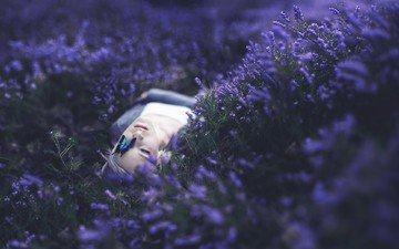 flowers, girl, mood, butterfly, face, lying, delana nikole