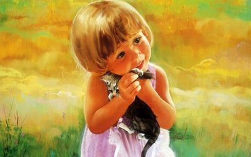art, kitty, girl, meadow, donald zolan