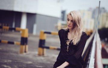 девушка, блондинка, лето, грусть, взгляд, волосы, лицо