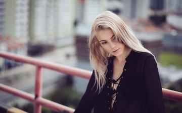 девушка, блондинка, взгляд, волосы, лицо