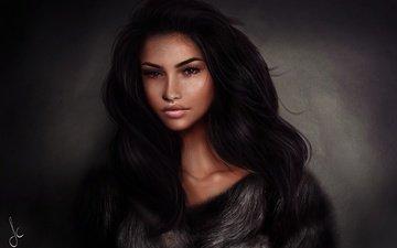девушка, брюнетка, взгляд, волосы, лицо