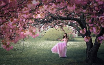деревья, цветение, девушка, настроение, модель, весна, качели, вишня в цвету