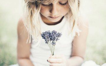 flowers, children, girl, hair, face, child, a bunch