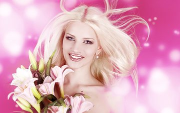 цветы, девушка, блондинка, улыбка, модель, губы, лилии, боке