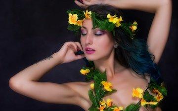 flowers, girl, background, black background, closed eyes