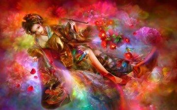 цветы, девушка, краски, восток, 3д
