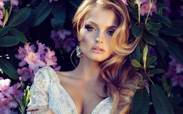 flowers, girl, face, makeup, hairstyle
