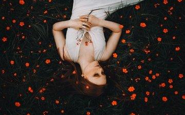 цветы, девушка, настроение, рыжая, рыжеволосая