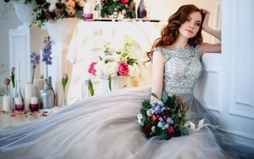 flowers, girl, dress, bouquet, makeup, hairstyle, brown hair