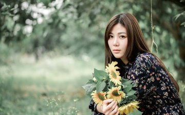 flowers, girl, dress, look, hair, face, sunflowers, asian, bokeh