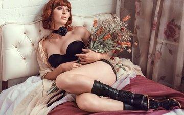 цветы, девушка, поза, модель, грудь
