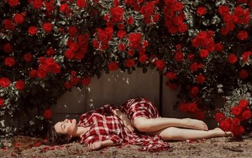 flowers, girl, roses, wall, lies, red lipstick, long hair, closed eyes