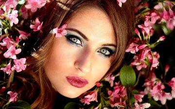 цветы, девушка, взгляд, весна, волосы, лицо, голубые глаза