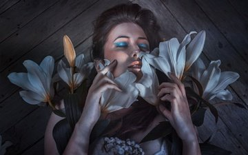flowers, girl, model, hair, face, makeup, lily, closed eyes, rafa sanchez