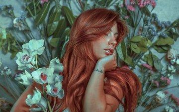 цветы, девушка, волосы, лицо, макияж, шатенка, закрытые глаза, rafa sanchez, rafael sánchez