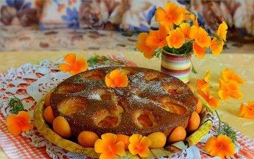 flowers, napkin, cakes, pie, dried apricots, mamamika