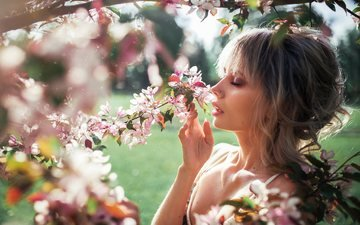 flowers, nature, tree, flowering, girl, branches, spring, closed eyes, rus