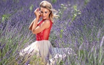 цветы, природа, девушка, платье, блондинка, лаванда, красота