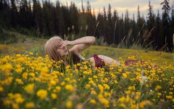 flowers, grass, nature, forest, girl, field, summer
