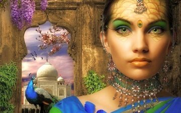 flowers, decoration, girl, peacock, window, india, taj mahal