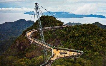 деревья, пейзаж, мост, малайзия, небесный, лангкави, мост лангкави, пулау