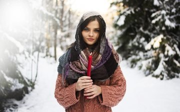 trees, snow, winter, girl, brunette, candle, sweater, shawl