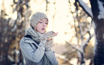 trees, snow, winter, girl, hat, coat, scarf, mitts