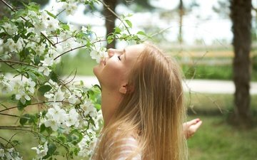 tree, summer, hair, face, masha
