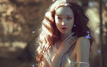 girl, look, red, hair, face, butterfly, chubymi, alexia giordano, marta bevacqua